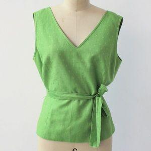 Miller Schor Tops - Green Polka-Dot Wrap Top